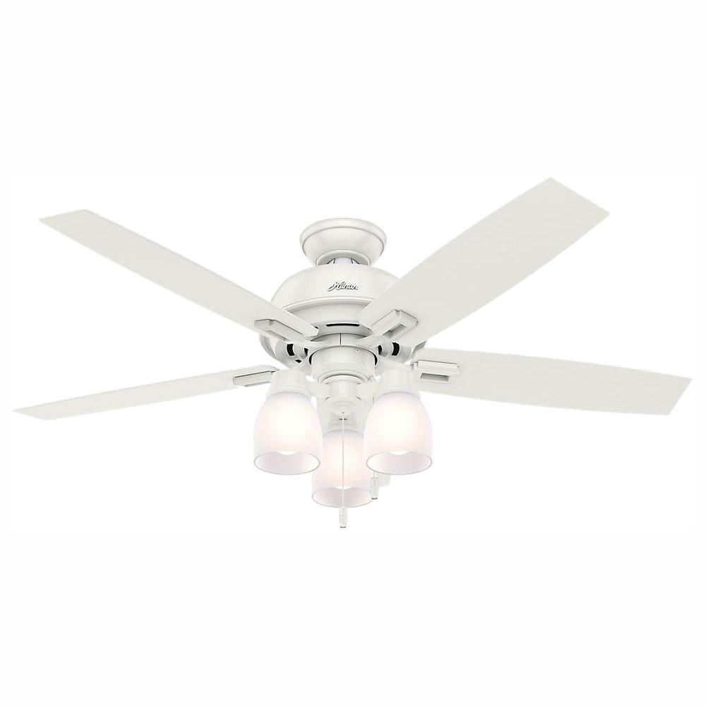 Hunter Donegan 52 in. LED Indoor Fresh White Ceiling Fan with 3-Light