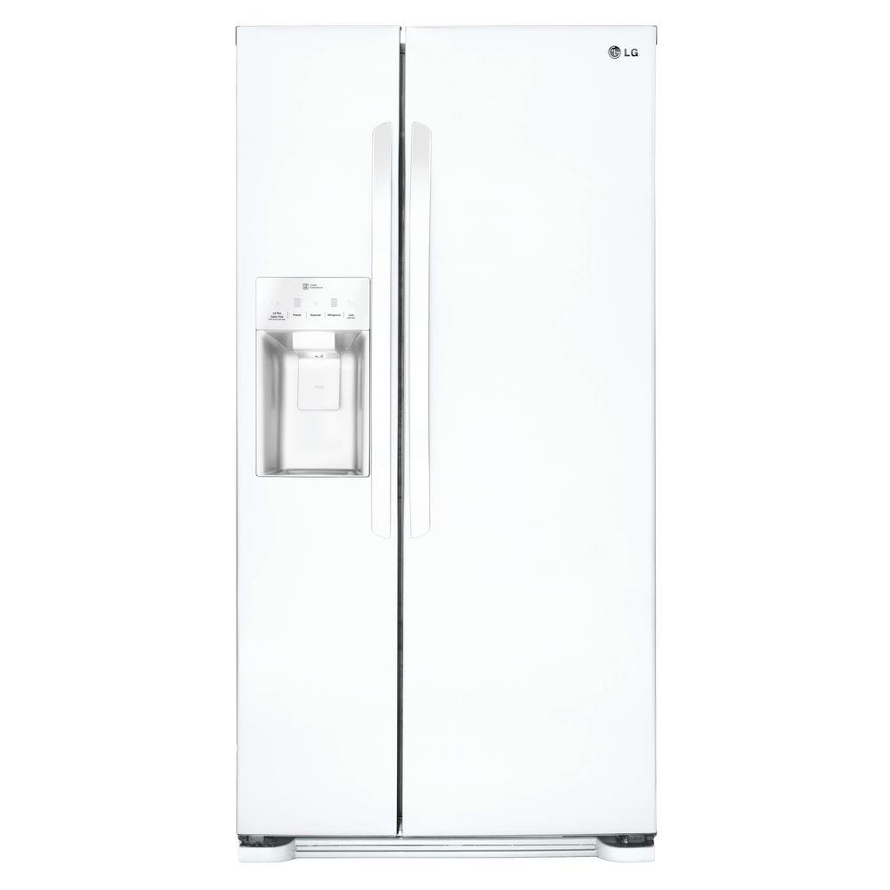 lg electronics 33 in w 22 cu ft side by side refrigerator in white lsxs22423w the home depot. Black Bedroom Furniture Sets. Home Design Ideas