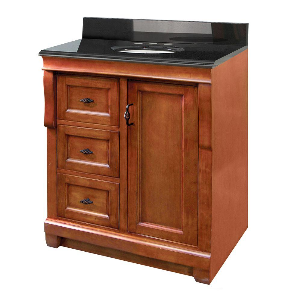 Foremost Naples 31 in. W x 22 in. D Vanity with Left Drawers in Warm Cinnamon with Granite Vanity Top in Black