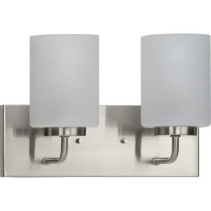 Merry 2-Light Brushed Nickel Etched Glass Transitional Wall Light
