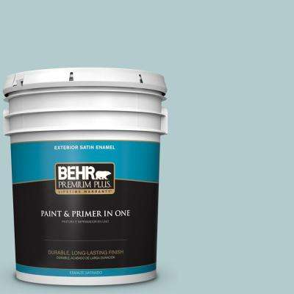 5 gal. #PPU13-15 Clear Pond Satin Enamel Exterior Paint
