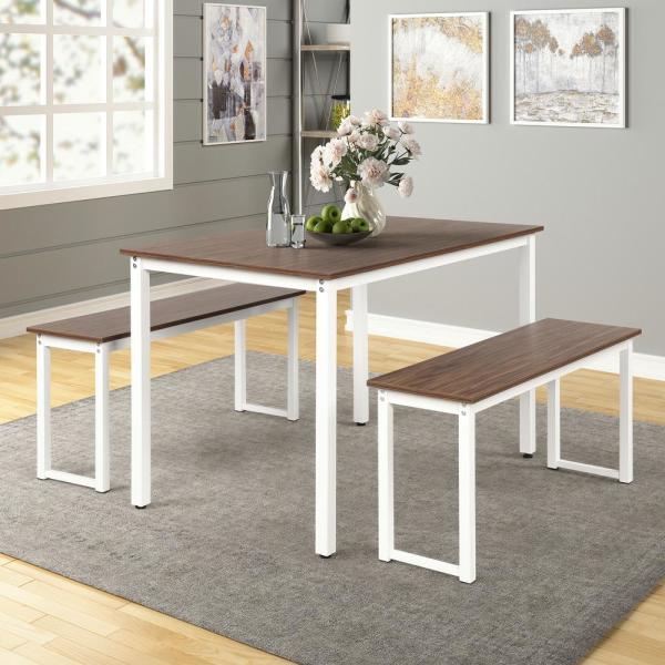 Harper & Bright Designs 3-Piece Brown Dining Table Set with 2-Benches