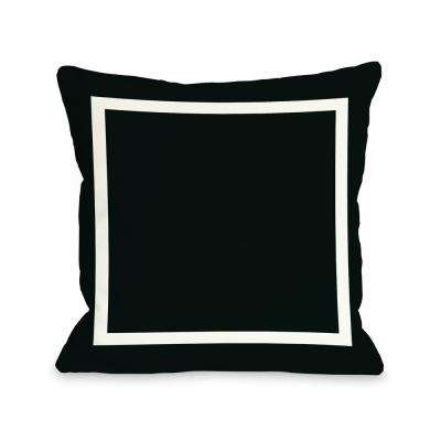 Samantha Simple Square Black 16 in. x 16 in. Decorative Pillow