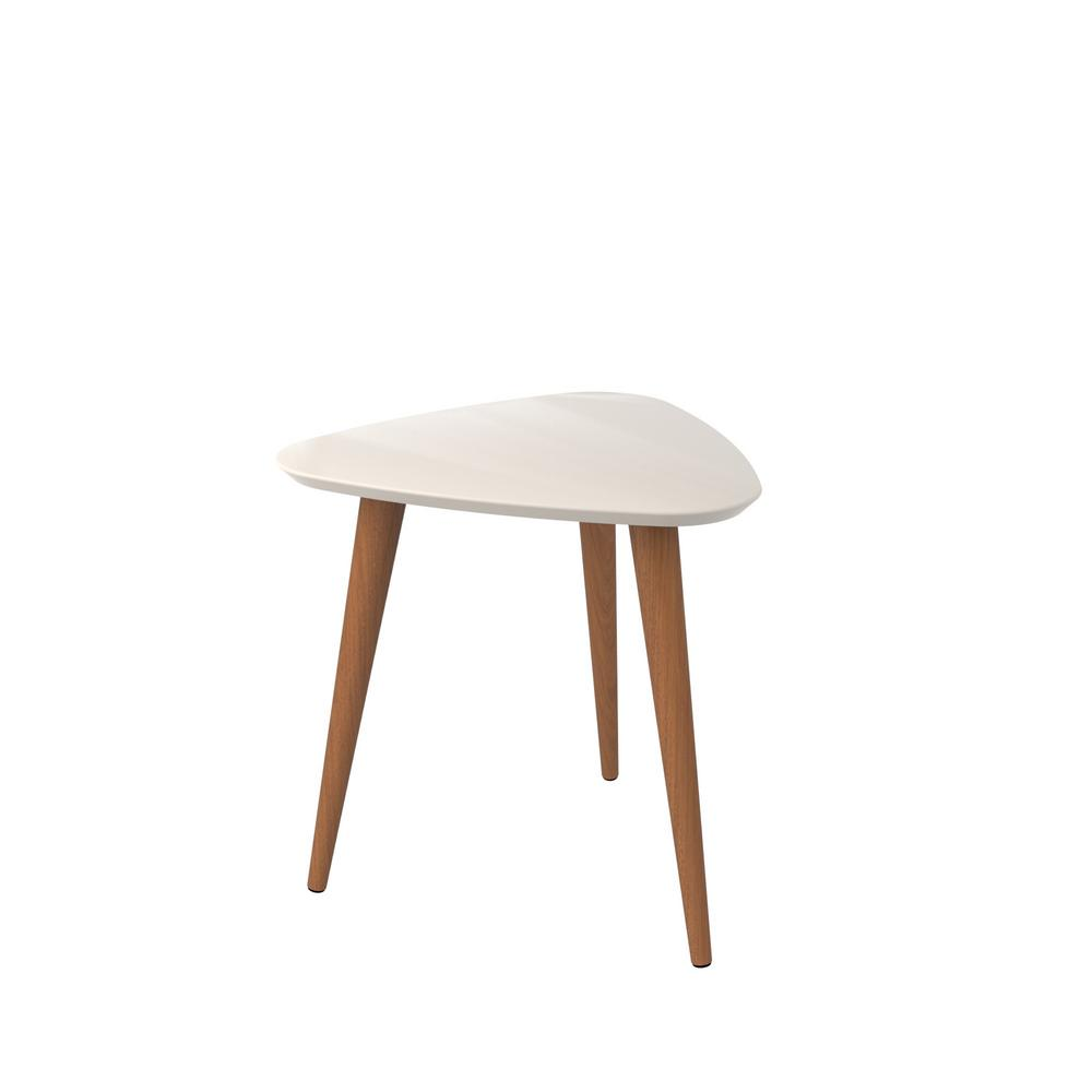 h offwhite and maple cream triangle end table