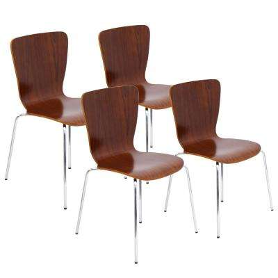 Bentwood Stacker Walnut With Chrome Dining Chair In Legs Set Of 4