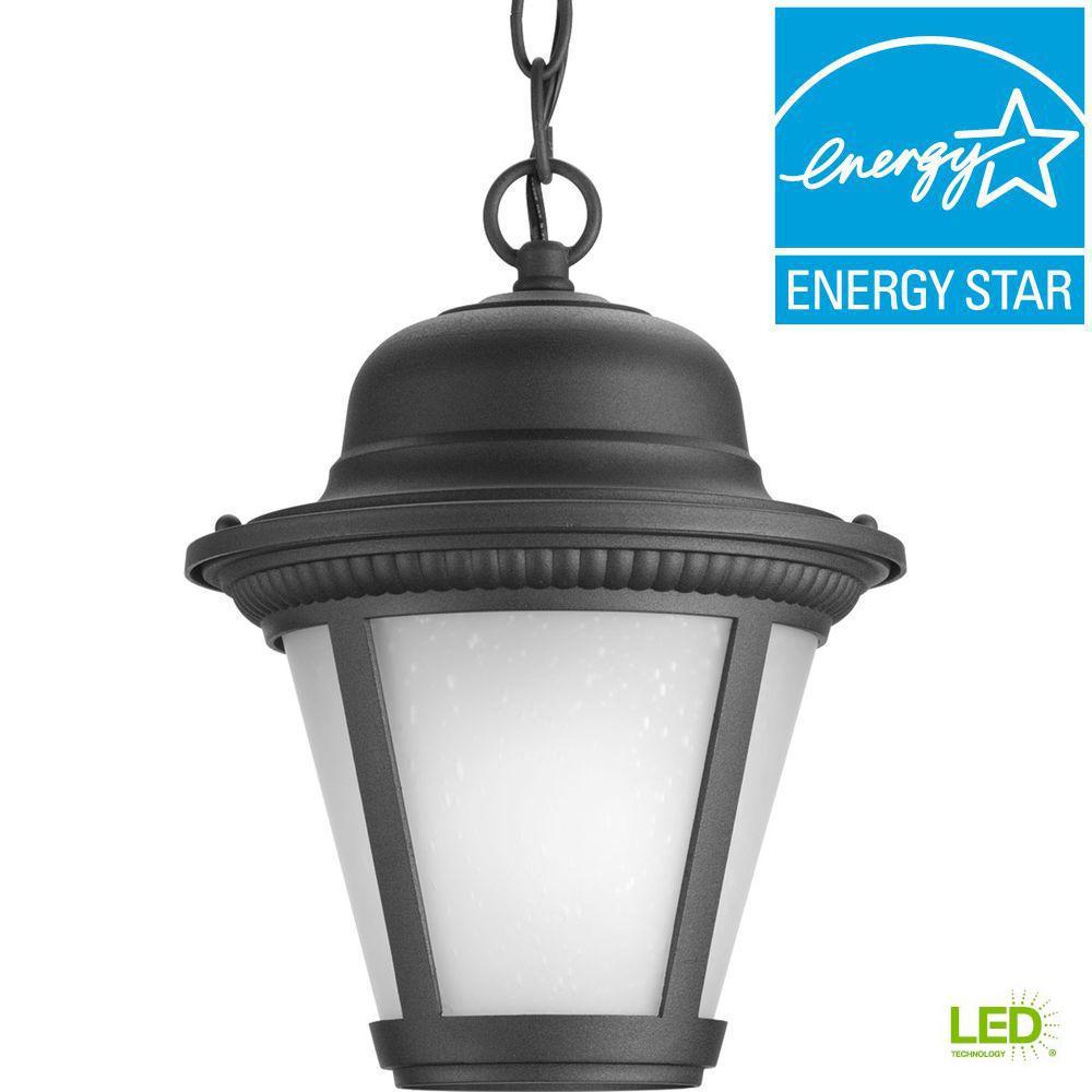 Progress Lighting Westport Collection 1 Light Outdoor Black Led Hanging Lantern