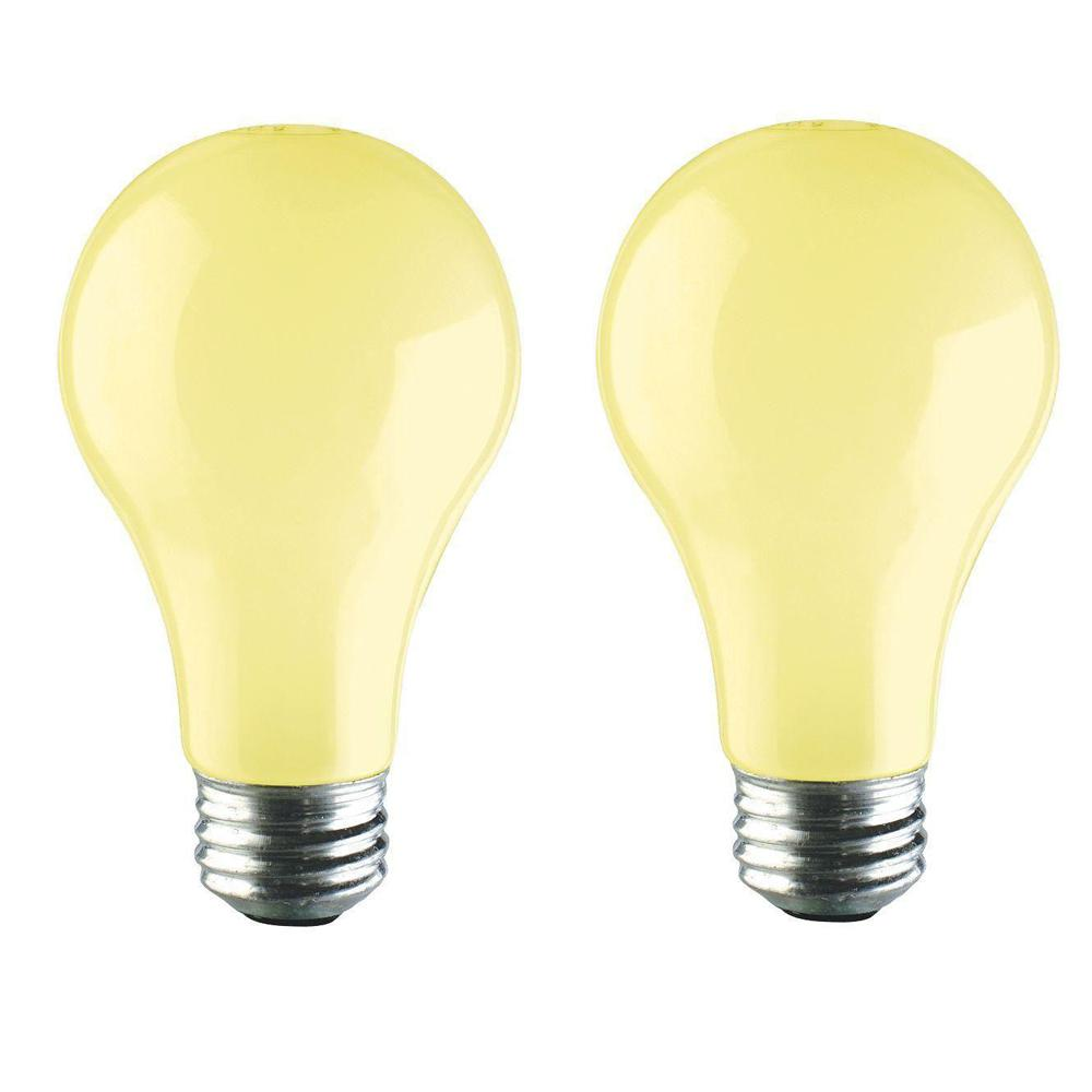 Philips 60-Watt A19 Long-Life Dimmable Yellow Incandescent Bug Light Bulb (2-Pack)