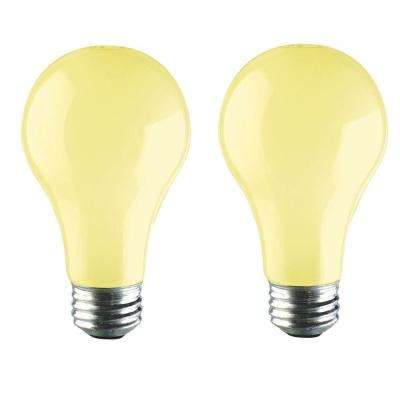 60-Watt A19 Incandescent PLC Long-Life Bug Light Bulb (2-Pack)