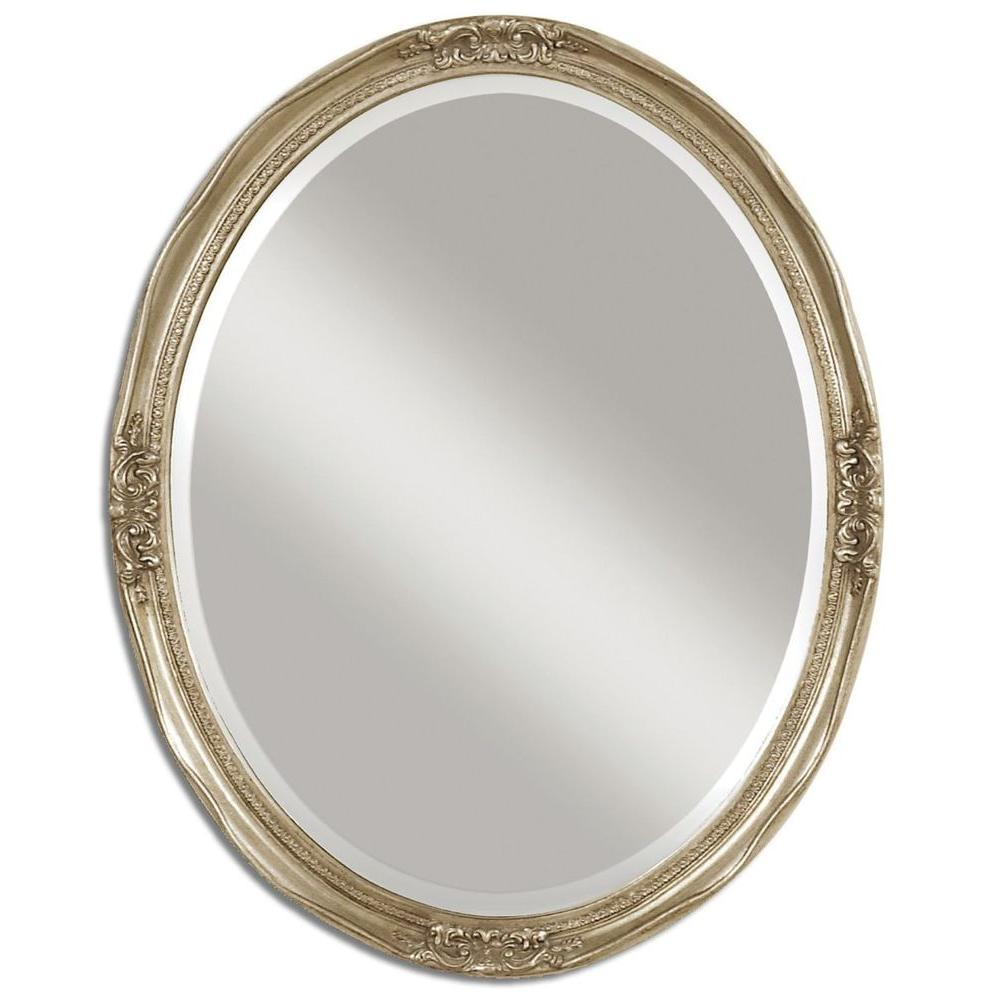 Global Direct 31 in. x 25 in. Silver Leaf Oval Framed Mirror