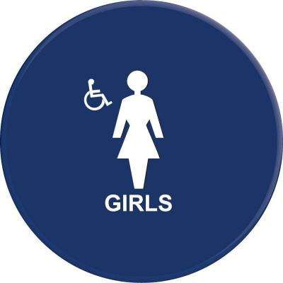 12 in. Girls Blue Circle Restroom Sign With Accessible Symbol