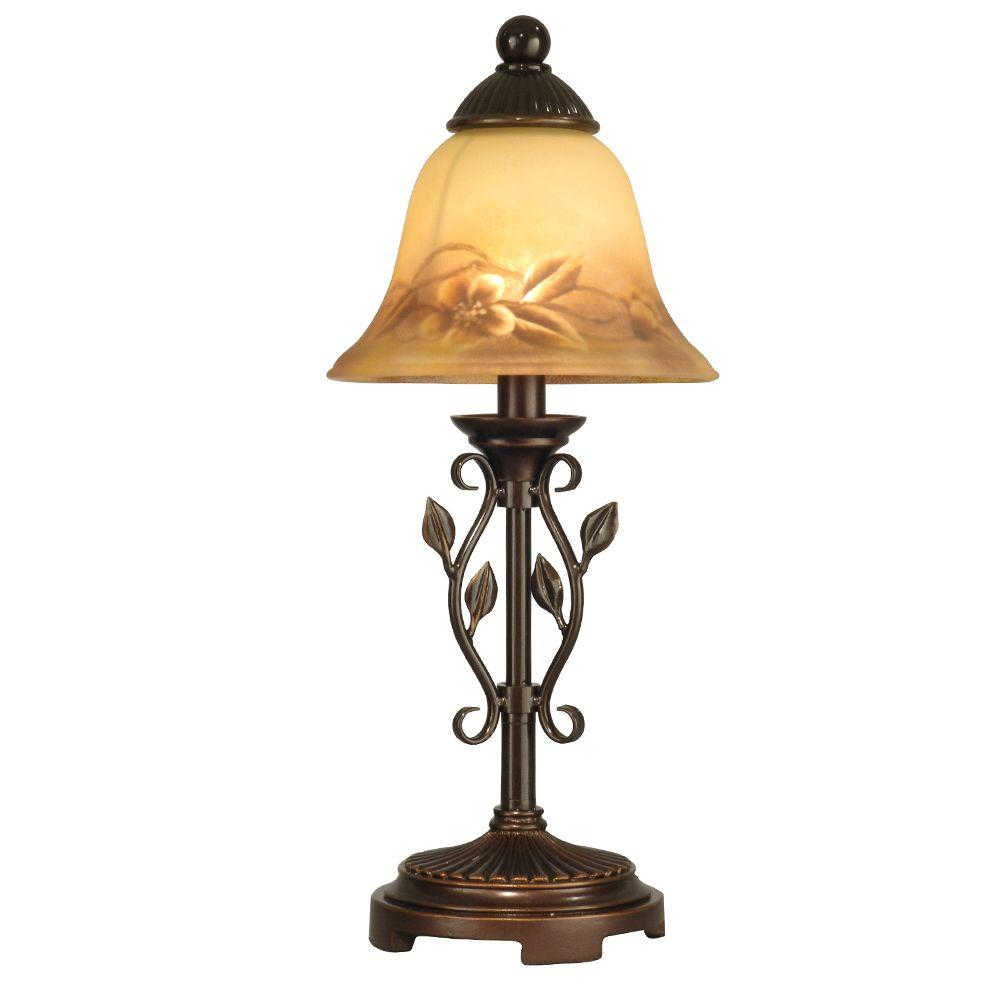 16.75 in. Leaf Vine Hand Painted Antique Golden Sand Mini Lamp