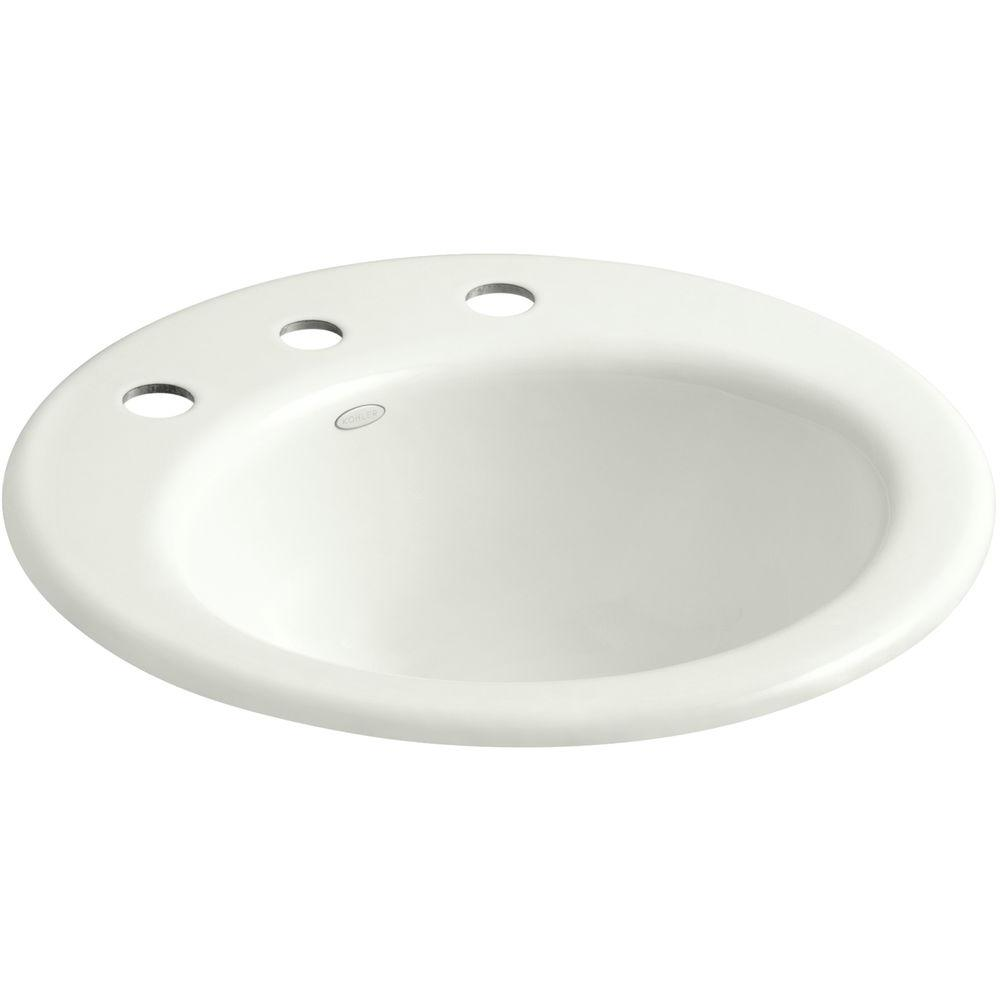Kohler radiant drop in cast iron bathroom sink in dune with overflow drain k 2917 8 ny the Kohler cast iron bathroom sink