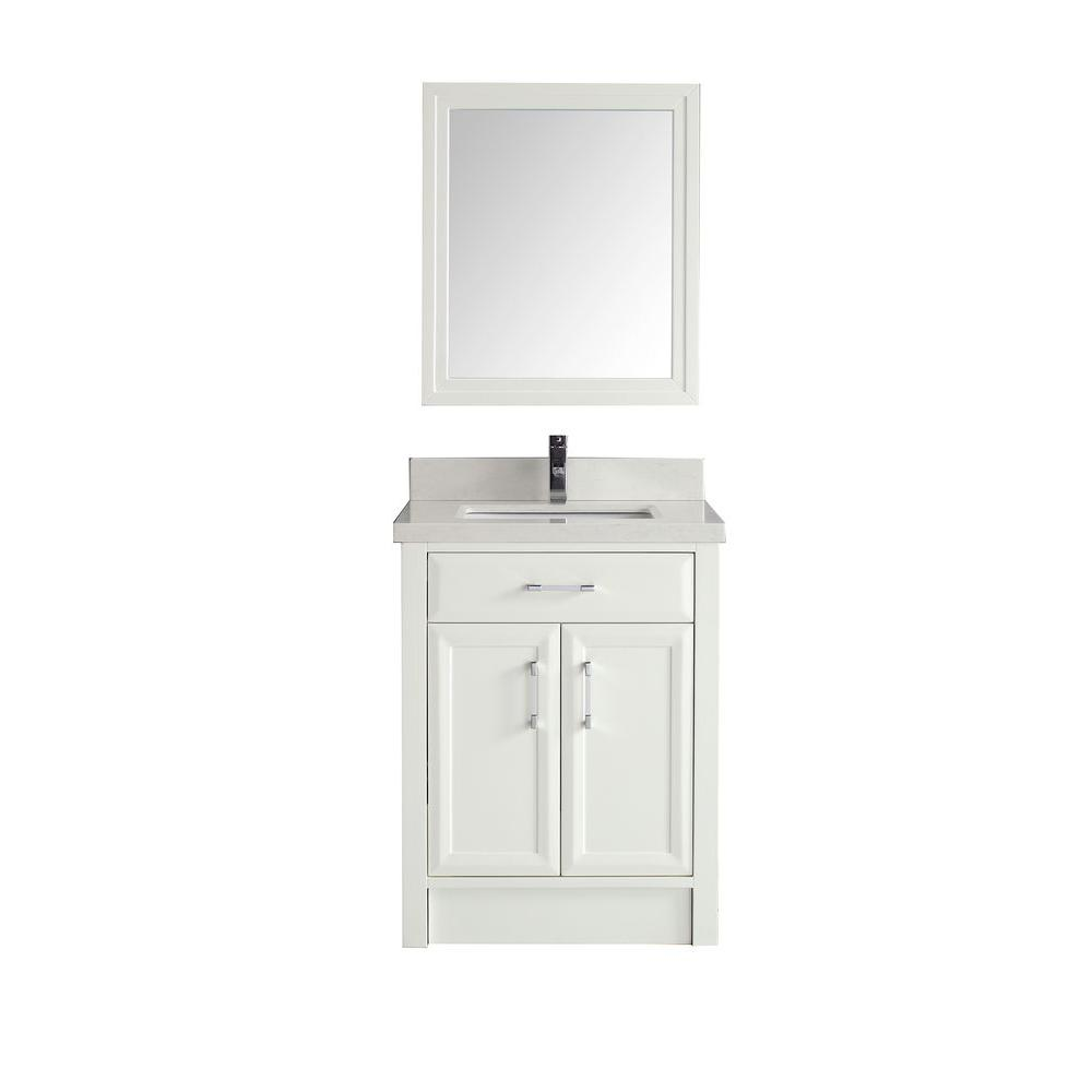 Studio Bathe Calais 28 in. Vanity in White with Solid Surface Marble Vanity Top in Carrara White and Mirror