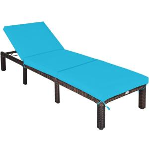 Adjustable Patio Rattan Outdoor Chaise Lounge Chair Recliner with Turquoise Cushion