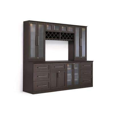 Home Bar 9-Piece Espresso Shaker Style Bar Cabinet