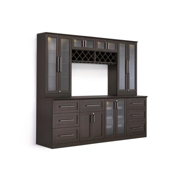 Newage Products Home Bar 9 Piece Espresso Shaker Style Bar Cabinet
