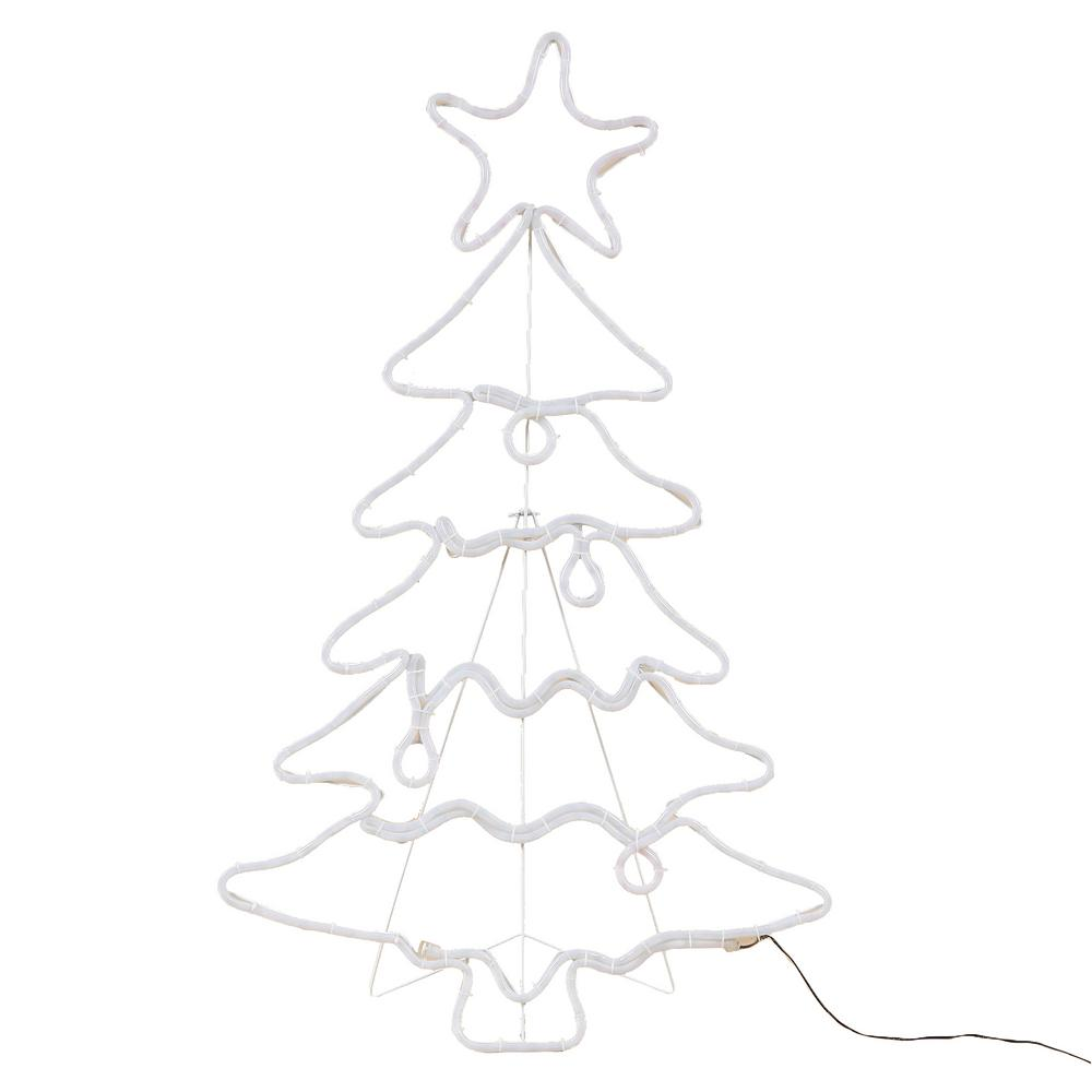 Luxen Home 45 In 1 Light Led White Rope Tree Indoor Outdoor Christmas Decoration Lighted Display