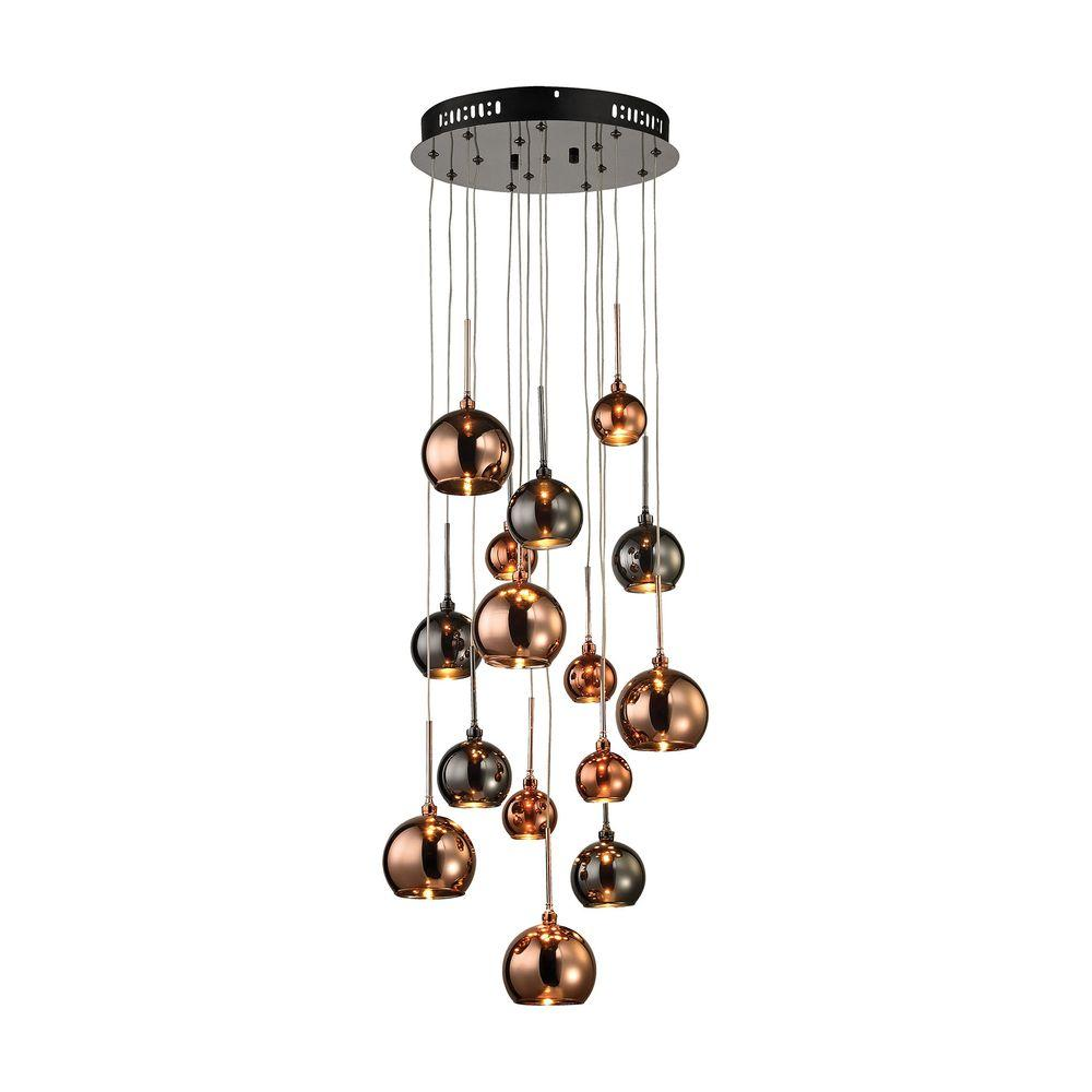 An Lighting Nexion 15 Light Black Chrome Small Chandelier