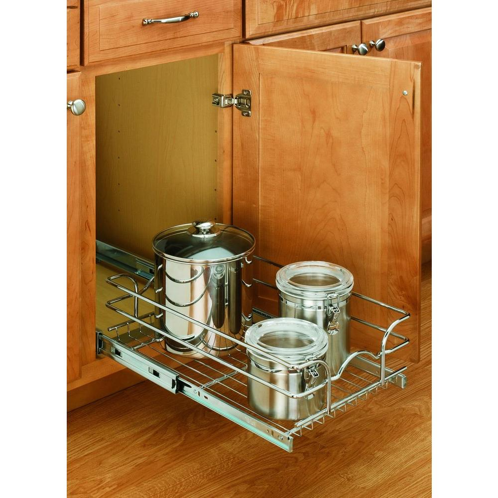 Rev A Shelf 7 In H X 8 75 W 18 D 9 Base Cabinet Pull Out Chrome Wire Basket 5wb1 0918 Cr The Home Depot