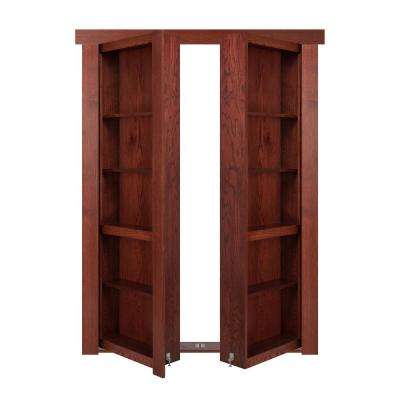 60 in. x 80 in. Flush Mount Assembled Oak Cherry Stained Out-Swing Solid Core Interior French Bookcase Door