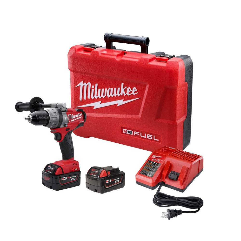 Milwaukee M18 FUEL 18-Volt Lithium-Ion Brushless 1/2 in. Hammer Drill/Driver XC Battery Kit