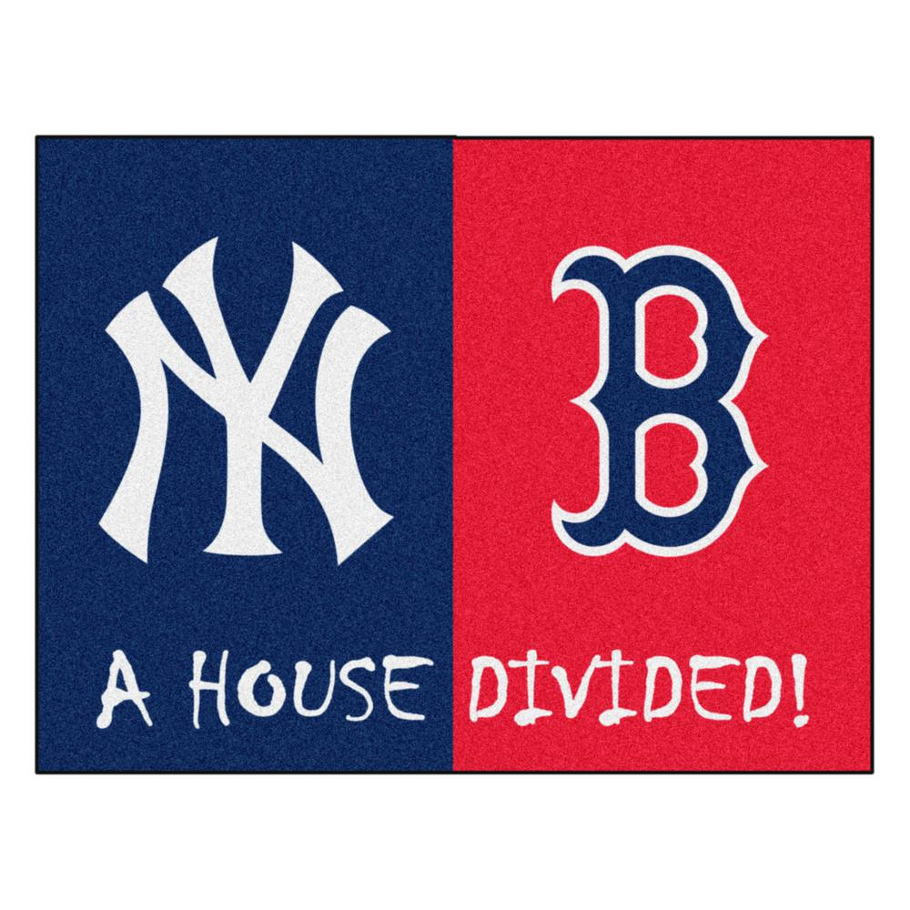 516ce5b52 FANMATS MLB Yankees Red Sox House Divided Navy Blue 3 ft. x 4 ft ...