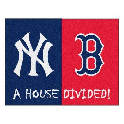 MLB Yankees/Red Sox House Divided Navy Blue 3 ft. x 4 ft. Area Rug