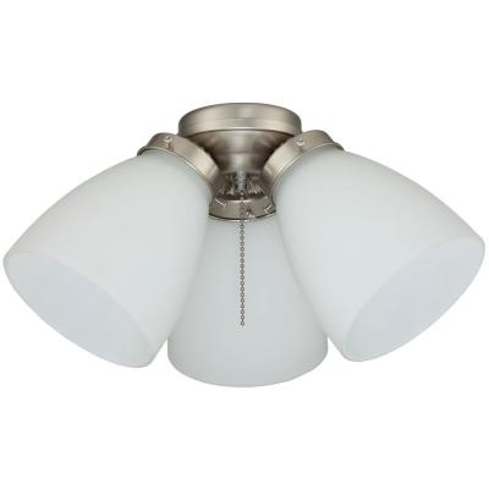 3-Light Brushed Nickel Ceiling Fan Shades LED Light Kit