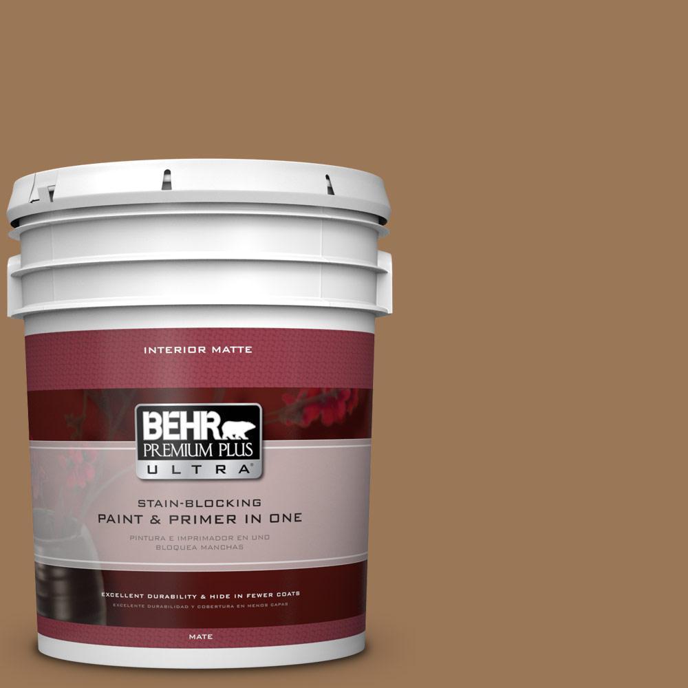 BEHR Premium Plus Ultra 5 gal. #PPU4-2 Coco Rum Matte Interior Paint and Primer in One
