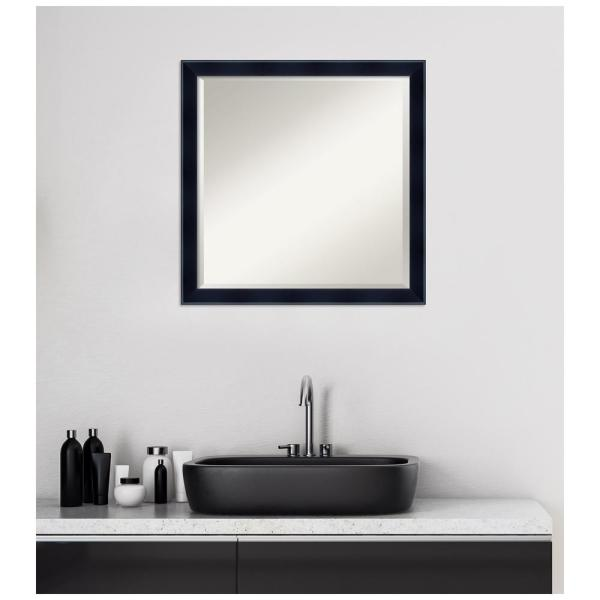 Amanti Art Madison 22 In W X 22 In H Framed Square Beveled Edge Bathroom Vanity Mirror In Black Satin Dsw4407197 The Home Depot