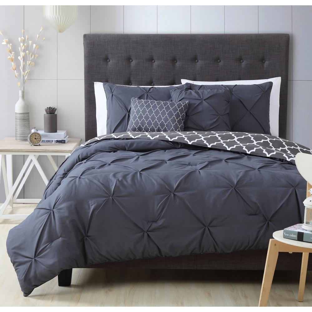 Madrid 5-Piece Charcoal Queen Comforter Set