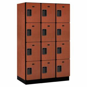 24000 Series 4 Tier 21 in. D 12 Compartments Extra Wide Designer Wood Locker in Cherry