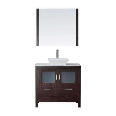 Dior 31 in. W Bath Vanity in Espresso with Marble Vanity Top in White with Square Basin and Mirror and Faucet
