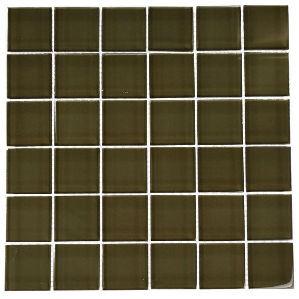 Splashback Tile 12 in. x 12 in. Contempo Khaki Polished Glass Tile