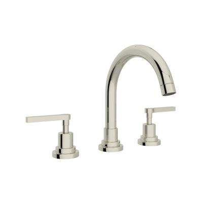 Lombardia 8 in. Widespread 2-Handle Bathroom Faucet in Polished Nickel