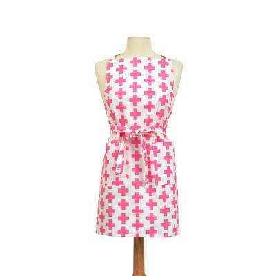 Crosses Modern Print Cotton Butcher's Apron, Pink and White