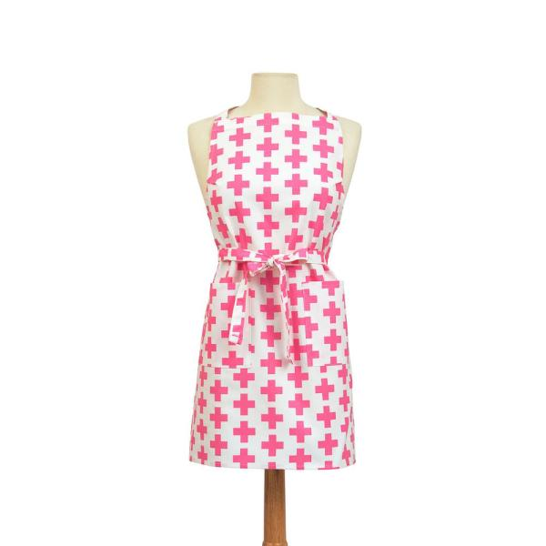 ASD Living Crosses Modern Print Cotton Butcher's Apron, Pink and White