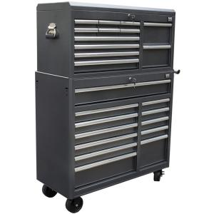 Wen 41 inch 24-Drawers Combo Tool Chest and Cabinet, Powdercoat Black by WEN