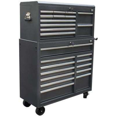 41 in. 24-Drawers Combo Tool Chest and Cabinet, Powdercoat Black