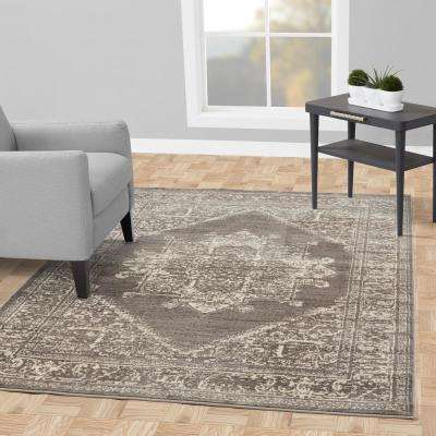 Alpina Collection Grey and Ivory 7 ft. 10 in. X 9 ft. 10 in. Oriental Medallion Area Rug