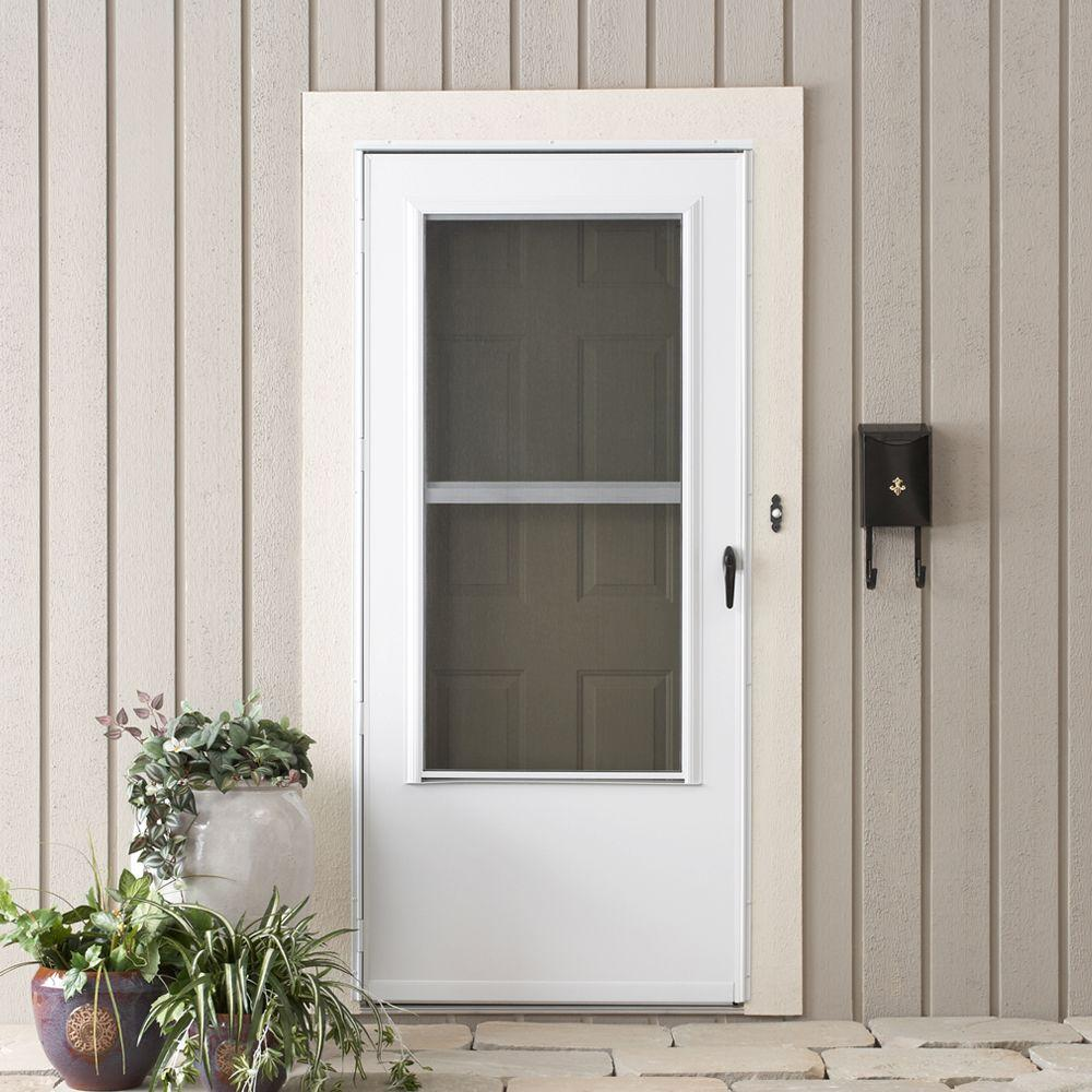 Emco 36 In X 80 In 200 Series White Universal Triple Track Aluminum Storm Door
