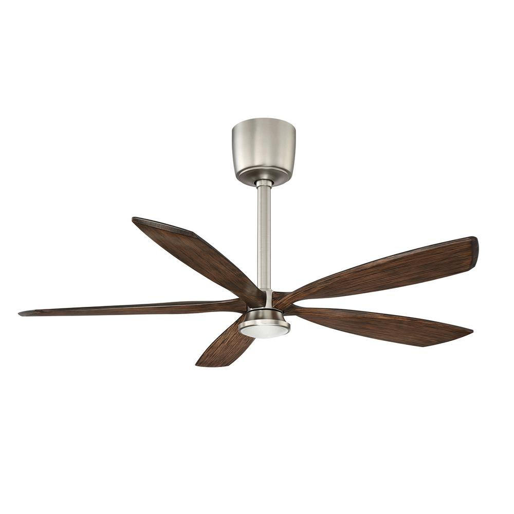 Phantom 54 in. LED Satin Nickel and Dark Maple Ceiling Fan