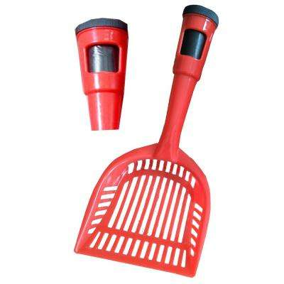 Red Poopin-Scoopin Dog and Cat Pooper Scooper Litter Shovel with Built-In Waste Bag Handle Holster