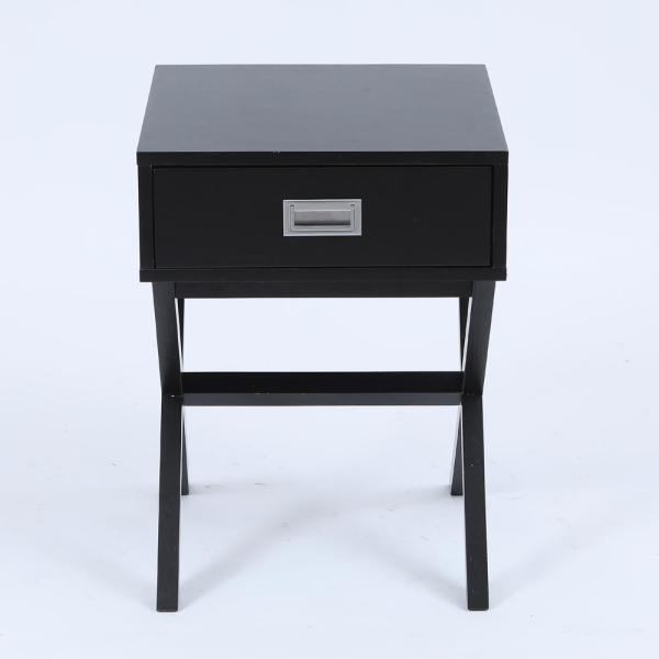 Black X-Leg Accent End Table with Storage