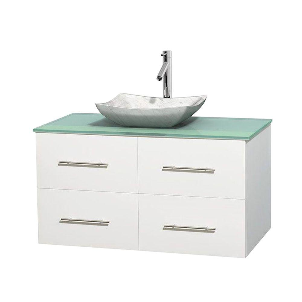 Wyndham Collection Centra 42 in. Vanity in White with Glass Vanity Top in Green and Carrara Sink