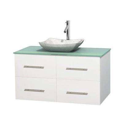 Centra 42 in. Vanity in White with Glass Vanity Top in Green and Carrara Sink