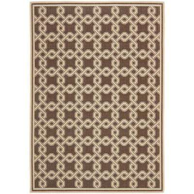 Martha Stewart Chocolate/Cream 5 ft. 3 in. x 7 ft. 7 in. Indoor/Outdoor Area Rug