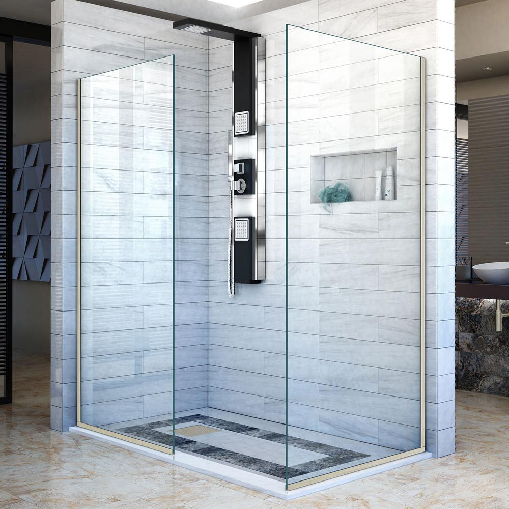 DreamLine Linea 34 in. x 72 in. Semi-Frameless Corner Fixed Design ...