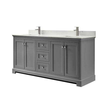 Ryla 72 in. W x 22 in. D Double Bath Vanity in Dark Gray with Cultured Marble Vanity Top in Carrara with White Basins