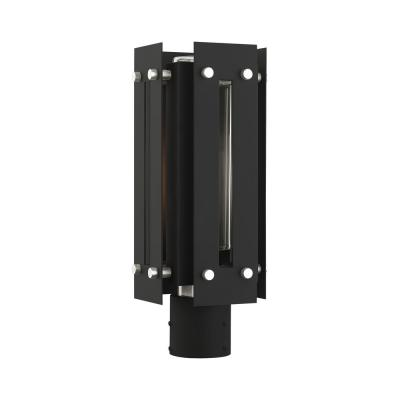 Utrecht 1-Light Black outdoor Post Top Lantern with Clear Glass